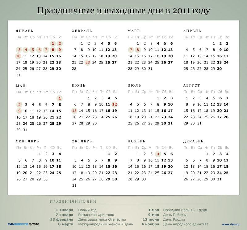 Стали известны точные даты выходных дней в 2015 году: например, новогодние каникулы продлятся с 1 по 11 января
